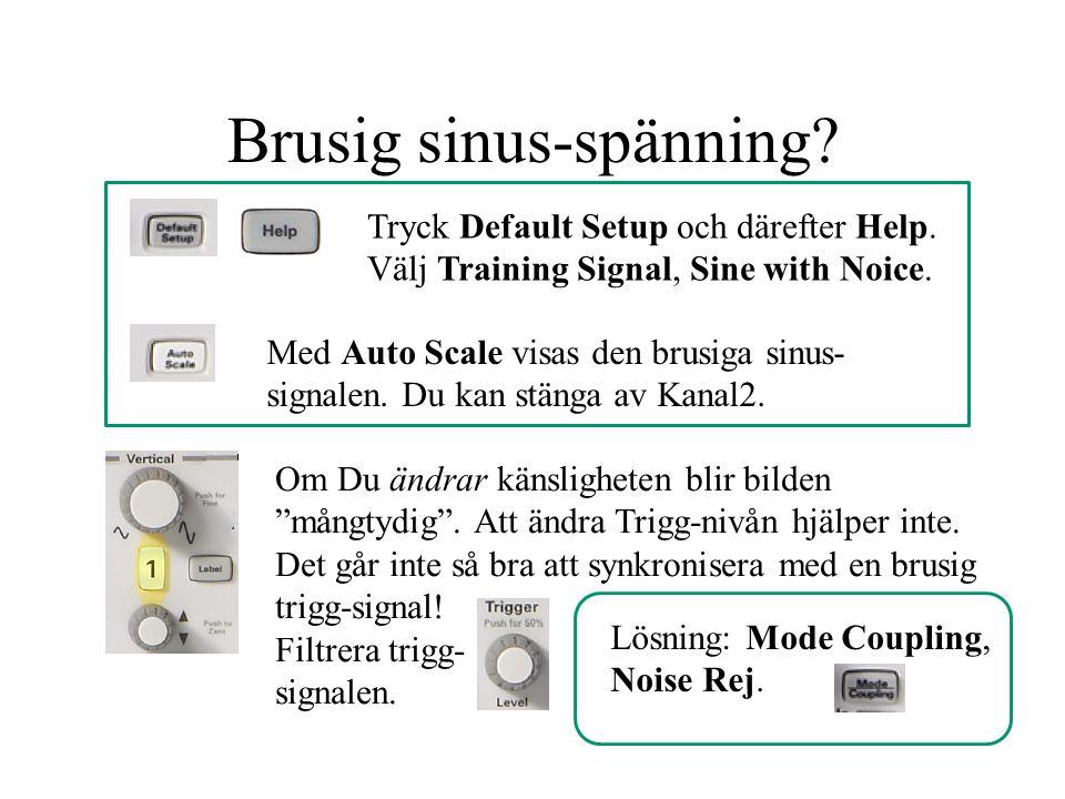 Brusig sinus-spänning? Tryck Default Setup och därefter Help. Välj Training Signal, Sine with Noice. Med Auto Scale visas den brusiga sinus- signalen.