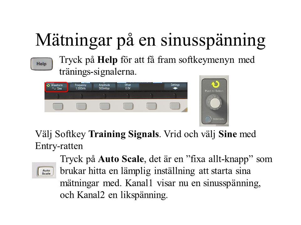 """Mätningar på en sinusspänning Tryck på Help för att få fram softkeymenyn med tränings-signalerna. Tryck på Auto Scale, det är en """"fixa allt-knapp"""" som"""
