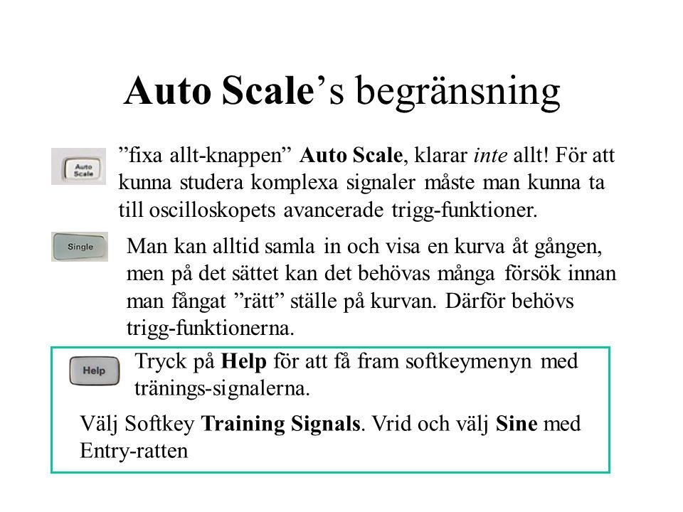"""Auto Scale's begränsning """"fixa allt-knappen"""" Auto Scale, klarar inte allt! För att kunna studera komplexa signaler måste man kunna ta till oscilloskop"""