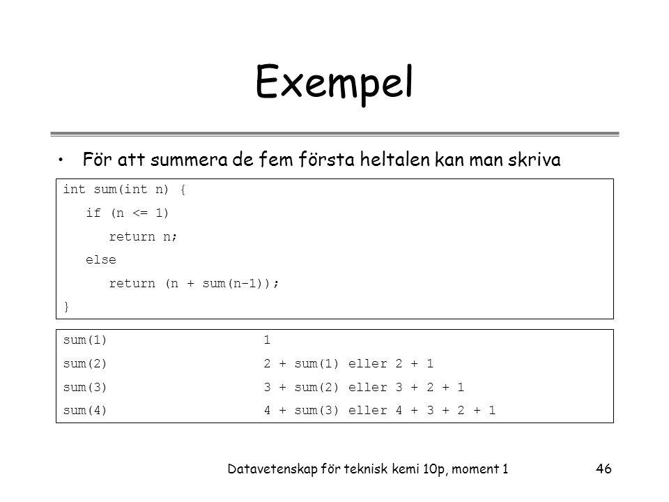 Datavetenskap för teknisk kemi 10p, moment 146 Exempel •För att summera de fem första heltalen kan man skriva int sum(int n) { if (n <= 1) return n; else return (n + sum(n-1)); } sum(1)1 sum(2)2 + sum(1) eller 2 + 1 sum(3)3 + sum(2) eller 3 + 2 + 1 sum(4)4 + sum(3) eller 4 + 3 + 2 + 1