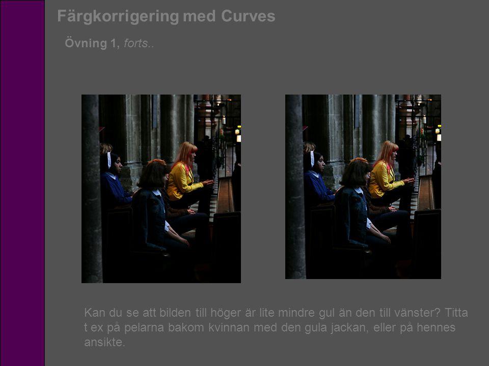 Färgkorrigering med Curves Övning 1, forts.. Kan du se att bilden till höger är lite mindre gul än den till vänster? Titta t ex på pelarna bakom kvinn