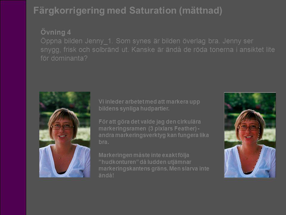 Färgkorrigering med Saturation (mättnad) Övning 4 Öppna bilden Jenny_1. Som synes är bilden överlag bra. Jenny ser snygg, frisk och solbränd ut. Kansk