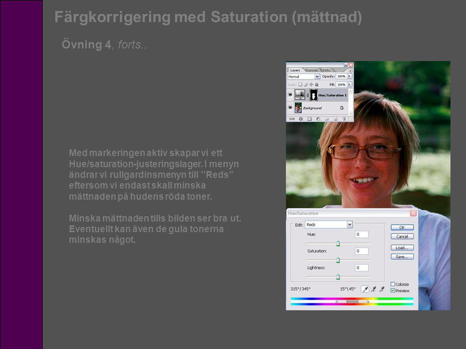 Färgkorrigering med Saturation (mättnad) Övning 4, forts.. Med markeringen aktiv skapar vi ett Hue/saturation-justeringslager. I menyn ändrar vi rullg