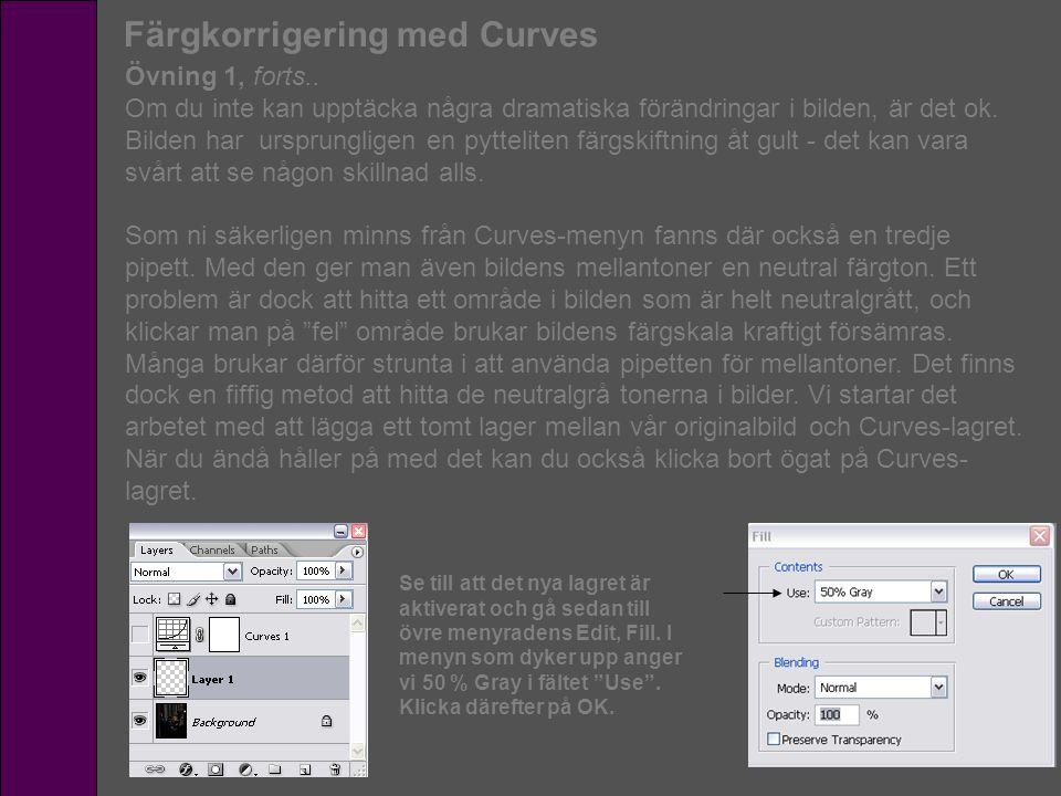 Färgkorrigering med Curves Övning 1, forts.. Om du inte kan upptäcka några dramatiska förändringar i bilden, är det ok. Bilden har ursprungligen en py