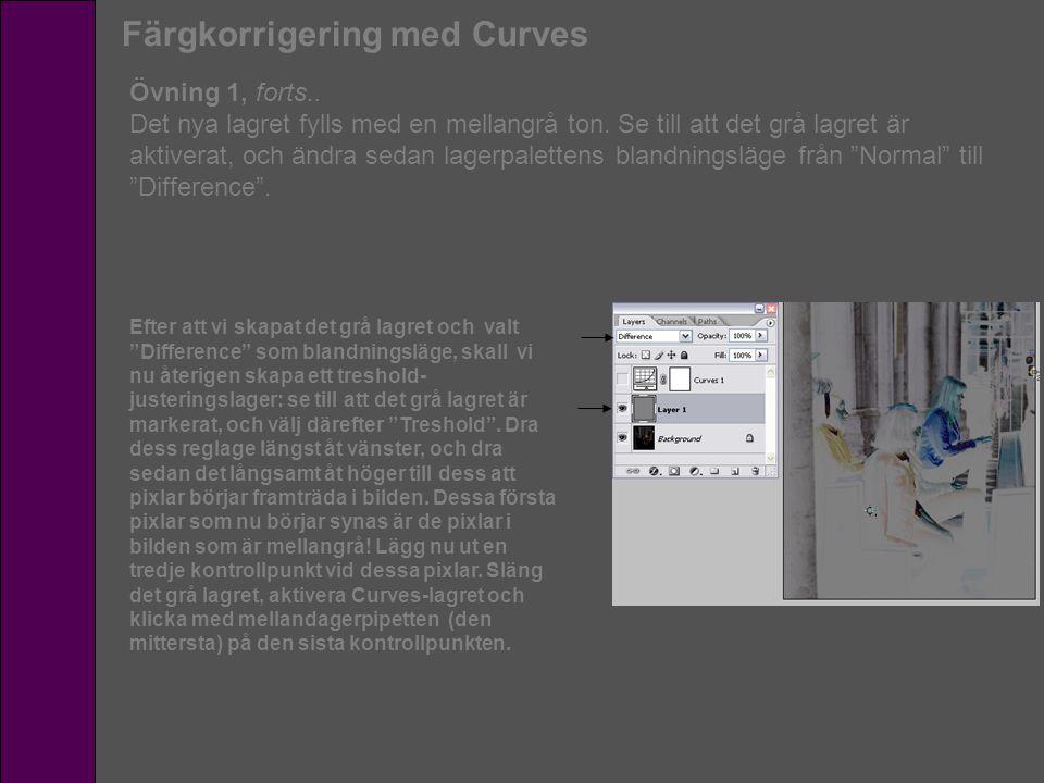 Färgkorrigering med Curves Övning 1, forts.. Det nya lagret fylls med en mellangrå ton. Se till att det grå lagret är aktiverat, och ändra sedan lager