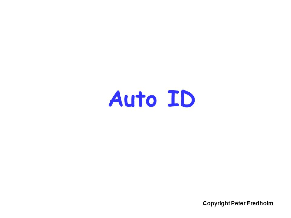 Copyright Peter Fredholm Auto ID