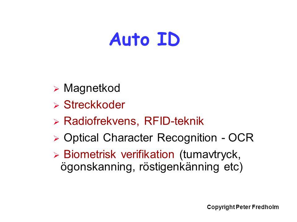 Copyright Peter Fredholm  Magnetkod  Streckkoder  Radiofrekvens, RFID-teknik  Optical Character Recognition - OCR  Biometrisk verifikation (tumav