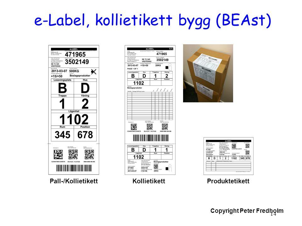 Copyright Peter Fredholm e-Label, kollietikett bygg (BEAst) 14 Pall-/KollietikettKollietikettProduktetikett