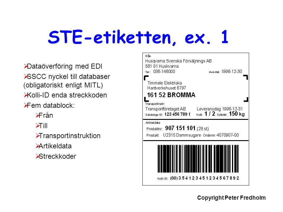 Copyright Peter Fredholm STE-etiketten, ex. 1  Dataöverföring med EDI  SSCC nyckel till databaser (obligatoriskt enligt MITL)  Kolli-ID enda streck