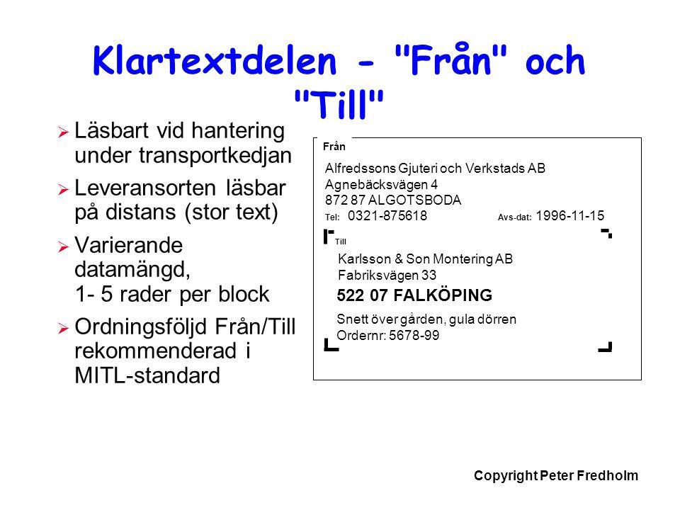 Copyright Peter Fredholm Klartextdelen -