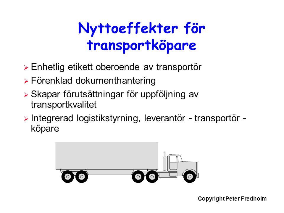 Copyright Peter Fredholm Nyttoeffekter för transportköpare  Enhetlig etikett oberoende av transportör  Förenklad dokumenthantering  Skapar förutsät