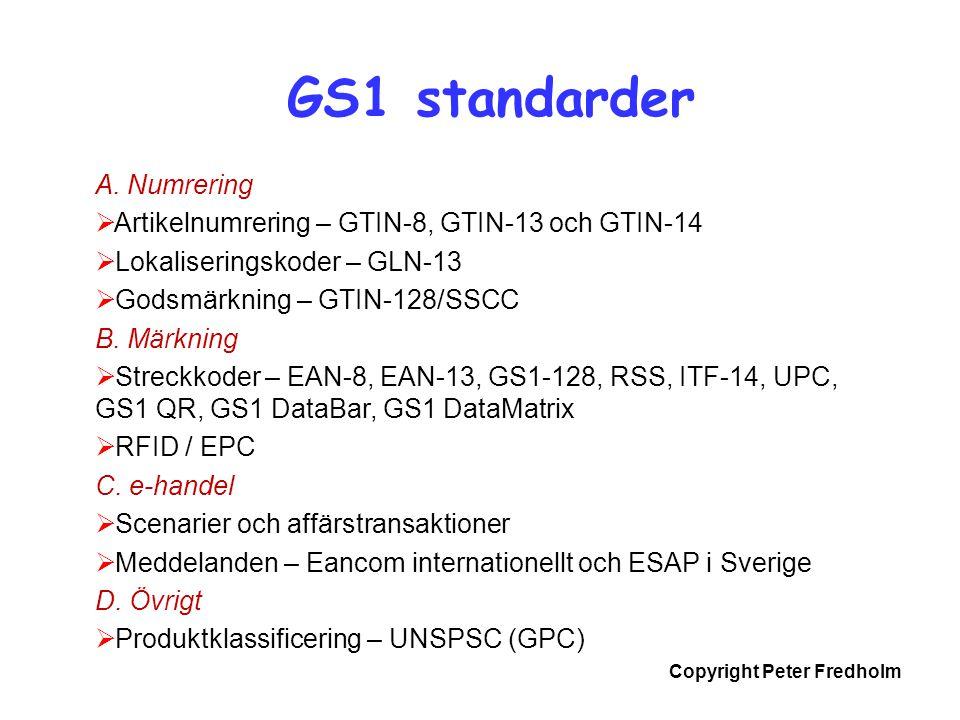 Copyright Peter Fredholm A. Numrering  Artikelnumrering – GTIN-8, GTIN-13 och GTIN-14  Lokaliseringskoder – GLN-13  Godsmärkning – GTIN-128/SSCC B.