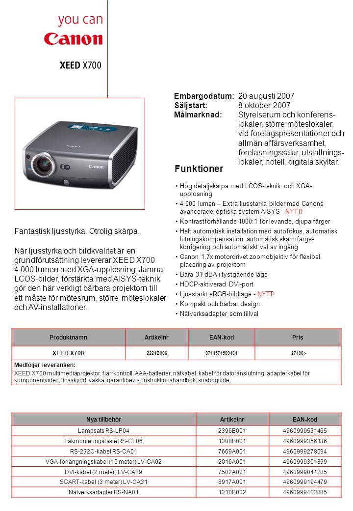 Tekniska specifikationer LCD-PANEL TypLCOS reflekterande display, TFT aktiv matris Storlek och antal0,7 diagonalt (15 x 11 mm), 3 paneler Sidförhållande4:3 Antal pixels1024 x 768 (XGA), 786 432 pixels OPTIK Lamptyp275 W NSH (AC) Max.
