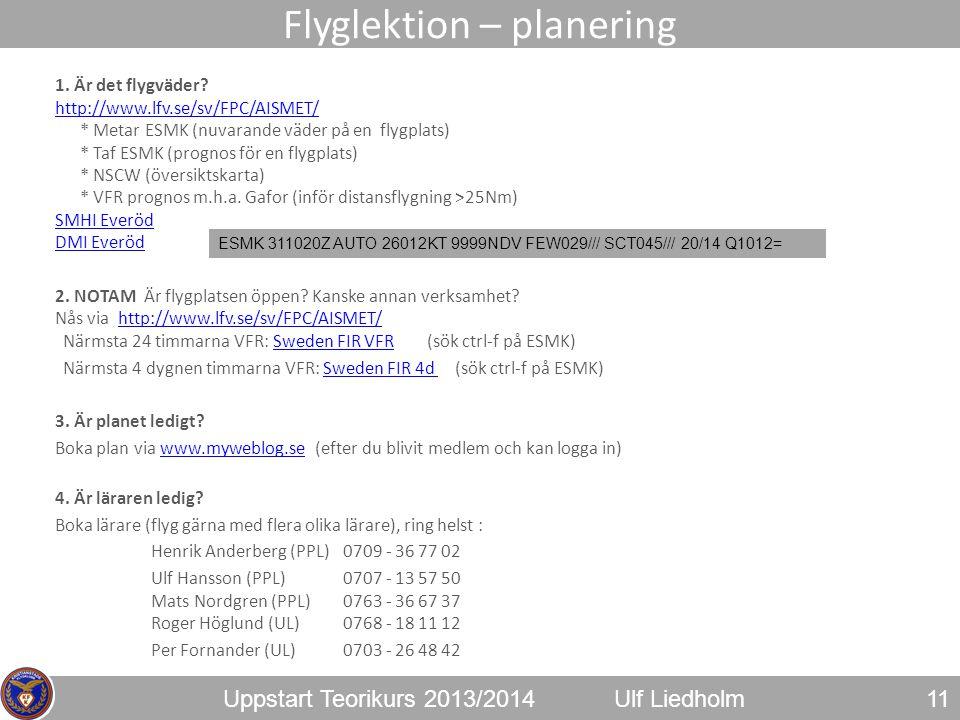 Uppstart Teorikurs 2013/2014Ulf Liedholm 1. Är det flygväder? http://www.lfv.se/sv/FPC/AISMET/ * Metar ESMK (nuvarande väder på en flygplats) * Taf ES