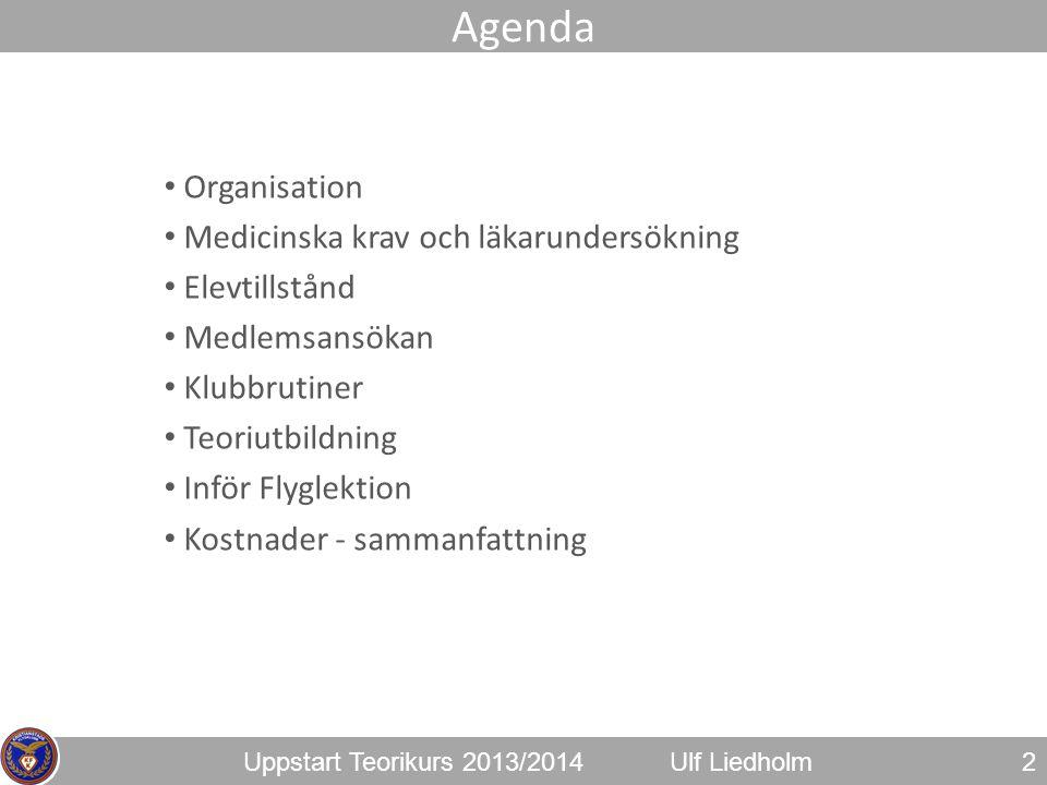 Uppstart Teorikurs 2013/2014Ulf Liedholm • Organisation • Medicinska krav och läkarundersökning • Elevtillstånd • Medlemsansökan • Klubbrutiner • Teor