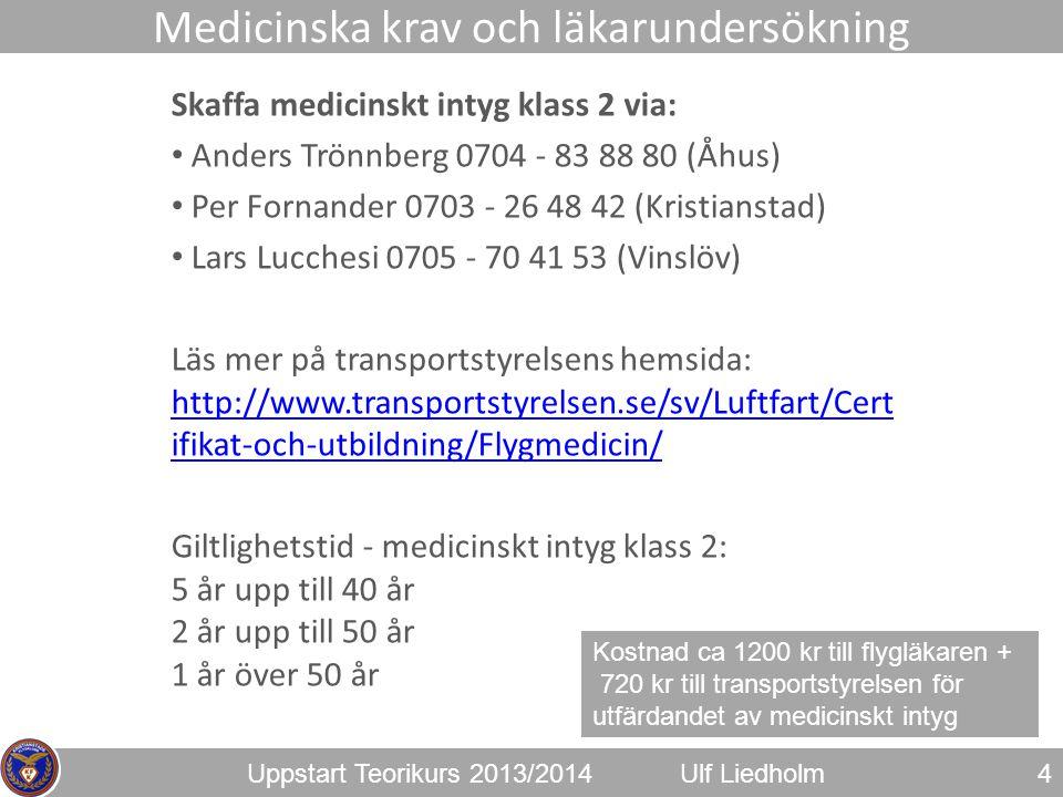 Uppstart Teorikurs 2013/2014Ulf Liedholm Skaffa medicinskt intyg klass 2 via: • Anders Trönnberg 0704 - 83 88 80 (Åhus) • Per Fornander 0703 - 26 48 4
