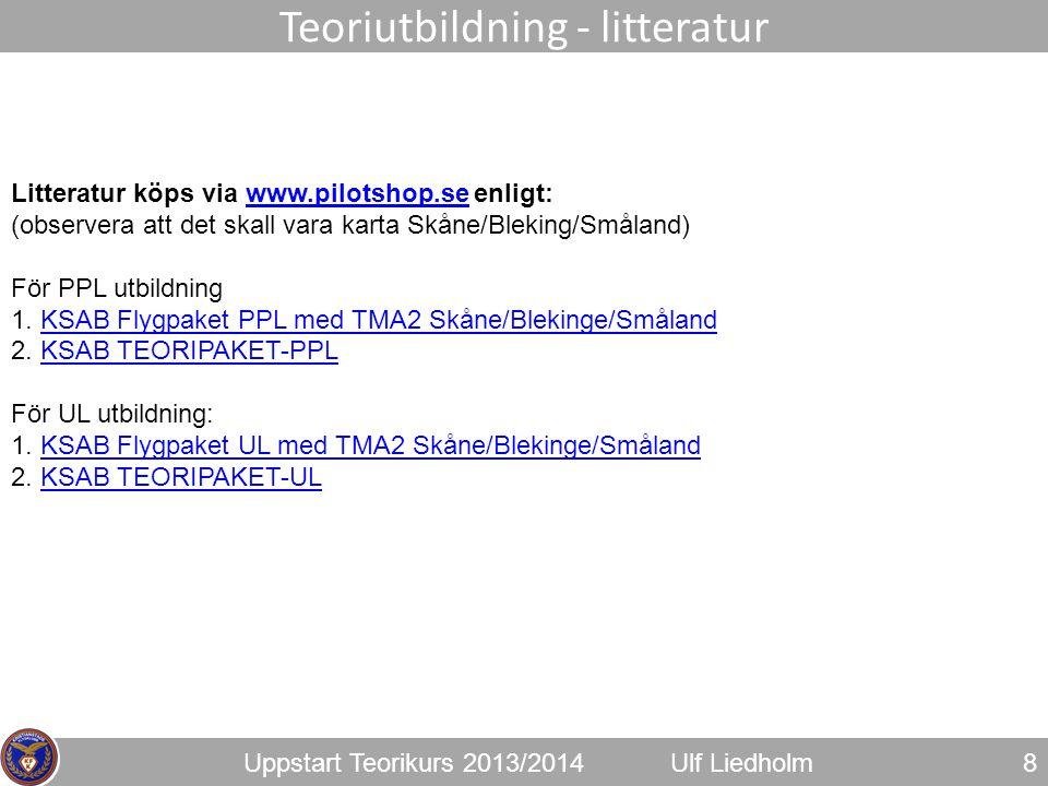 Uppstart Teorikurs 2013/2014Ulf Liedholm 8 Teoriutbildning - litteratur Litteratur köps via www.pilotshop.se enligt:www.pilotshop.se (observera att de