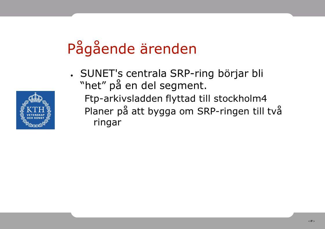 """11 Pågående ärenden ● SUNET's centrala SRP-ring börjar bli """"het"""" på en del segment. Ftp-arkivsladden flyttad till stockholm4 Planer på att bygga om SR"""