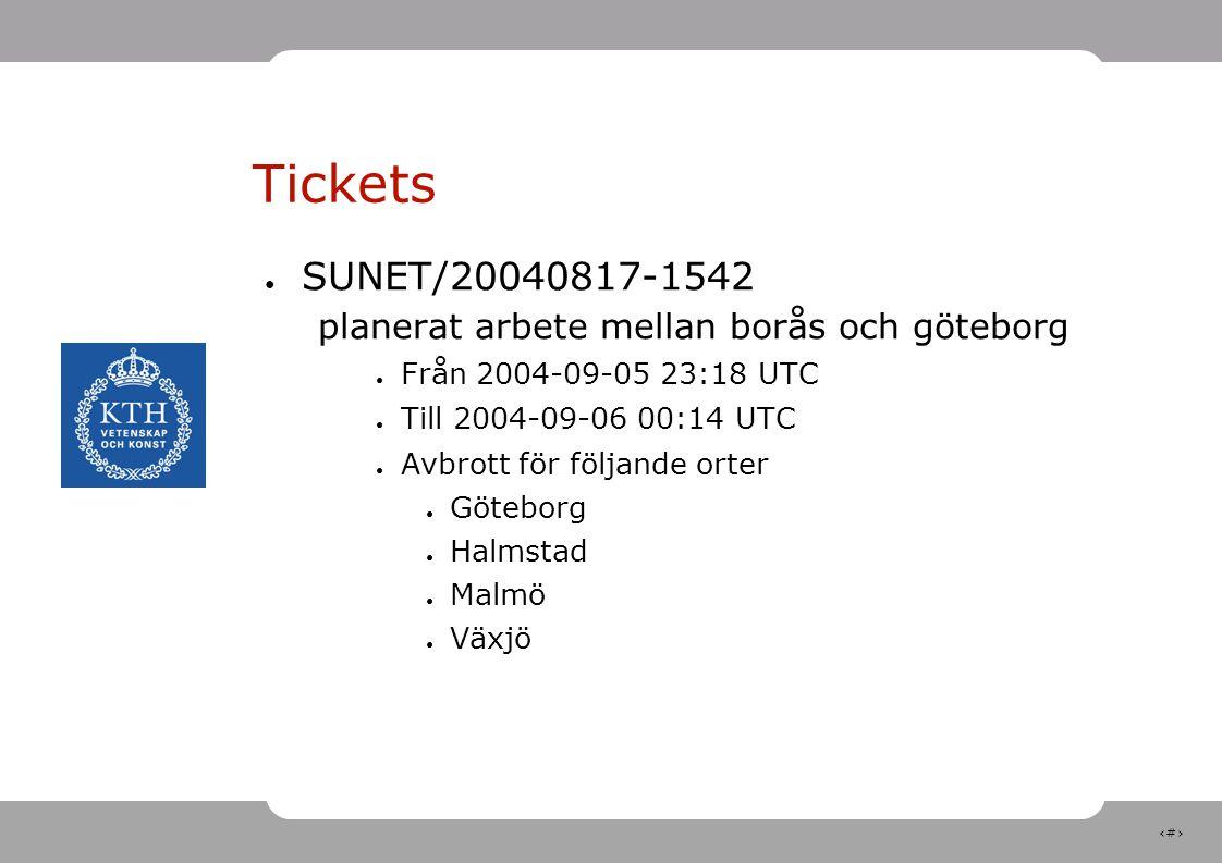 5 Tickets ● SUNET/20040817-1542 planerat arbete mellan borås och göteborg ● Från 2004-09-05 23:18 UTC ● Till 2004-09-06 00:14 UTC ● Avbrott för följande orter ● Göteborg ● Halmstad ● Malmö ● Växjö