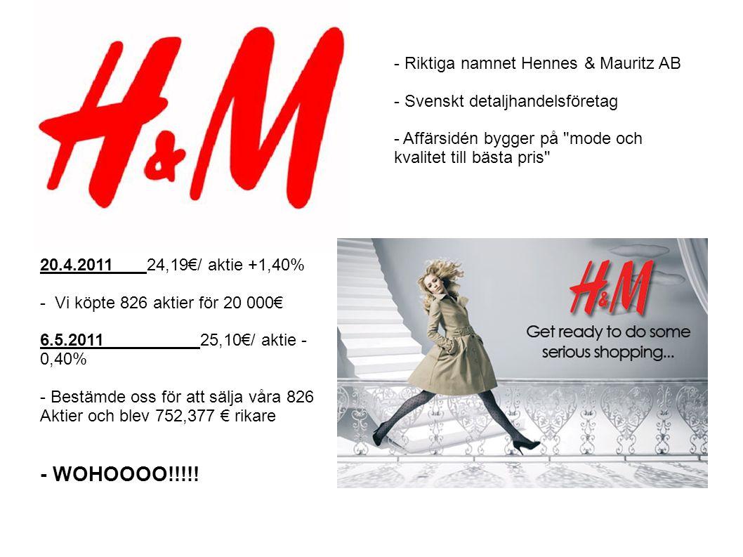 20.4.201124,19€/ aktie +1,40% - Vi köpte 826 aktier för 20 000€ 6.5.201125,10€/ aktie - 0,40% - Bestämde oss för att sälja våra 826 Aktier och blev 752,377 € rikare - WOHOOOO!!!!.