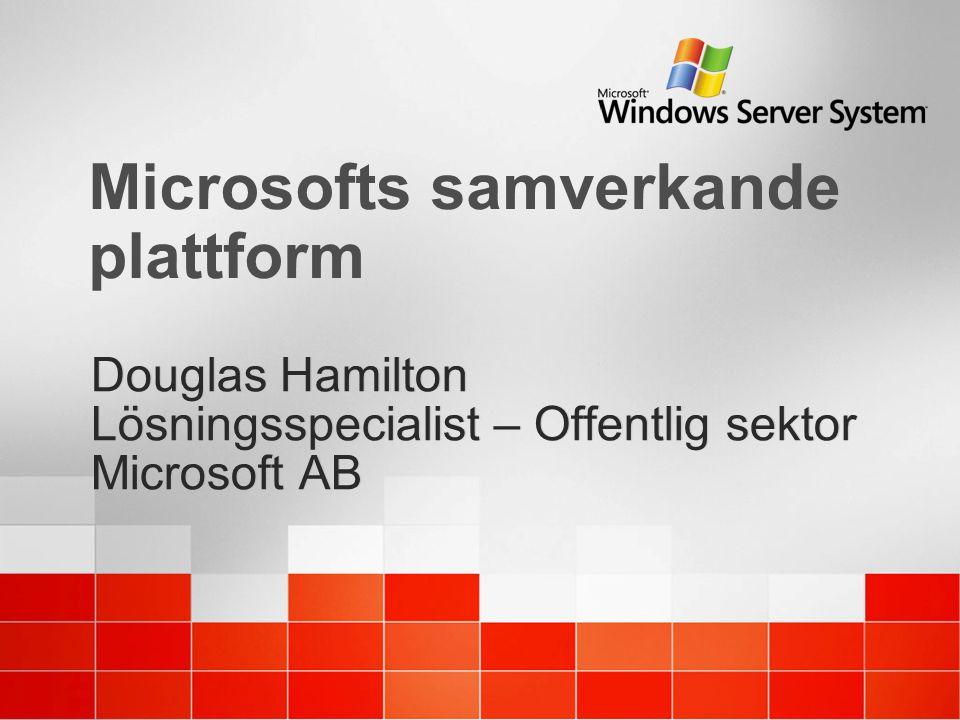 Microsofts samverkande plattform Douglas Hamilton Lösningsspecialist – Offentlig sektor Microsoft AB Douglas Hamilton Lösningsspecialist – Offentlig s