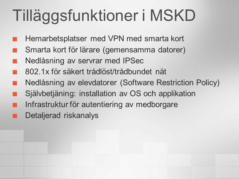 Tilläggsfunktioner i MSKD Hemarbetsplatser med VPN med smarta kort Smarta kort för lärare (gemensamma datorer) Nedlåsning av servrar med IPSec 802.1x