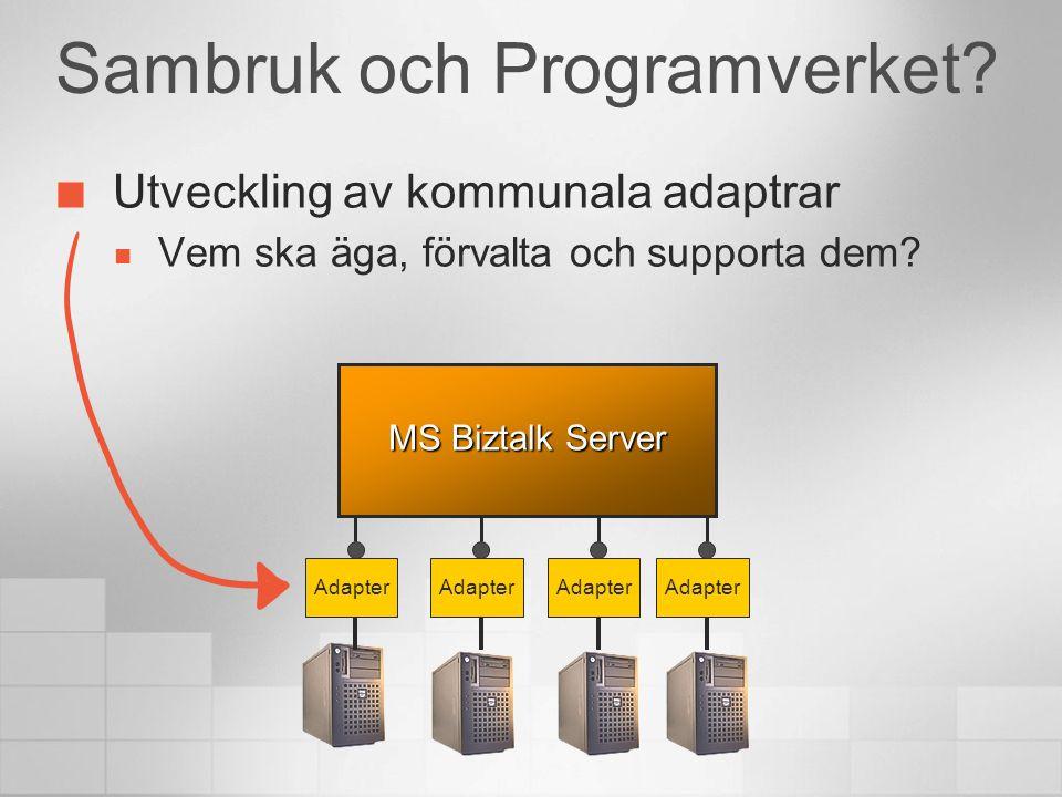 Sambruk och Programverket? MS Biztalk Server Adapter Utveckling av kommunala adaptrar  Vem ska äga, förvalta och supporta dem?