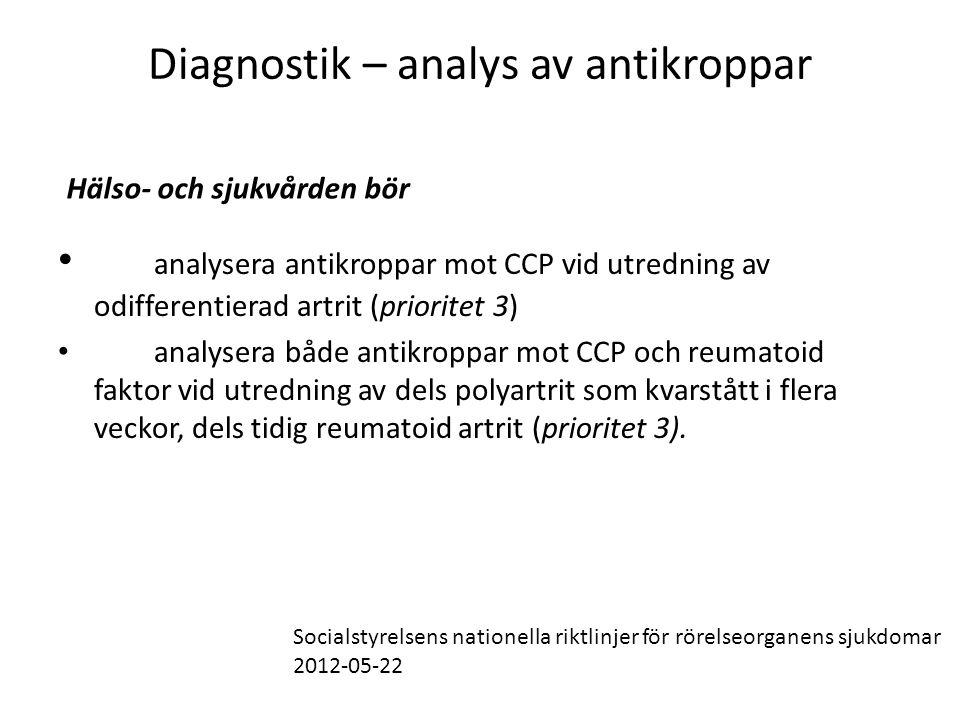 Diagnostik – analys av antikroppar • analysera antikroppar mot CCP vid utredning av odifferentierad artrit (prioritet 3) • analysera både antikroppar mot CCP och reumatoid faktor vid utredning av dels polyartrit som kvarstått i flera veckor, dels tidig reumatoid artrit (prioritet 3).