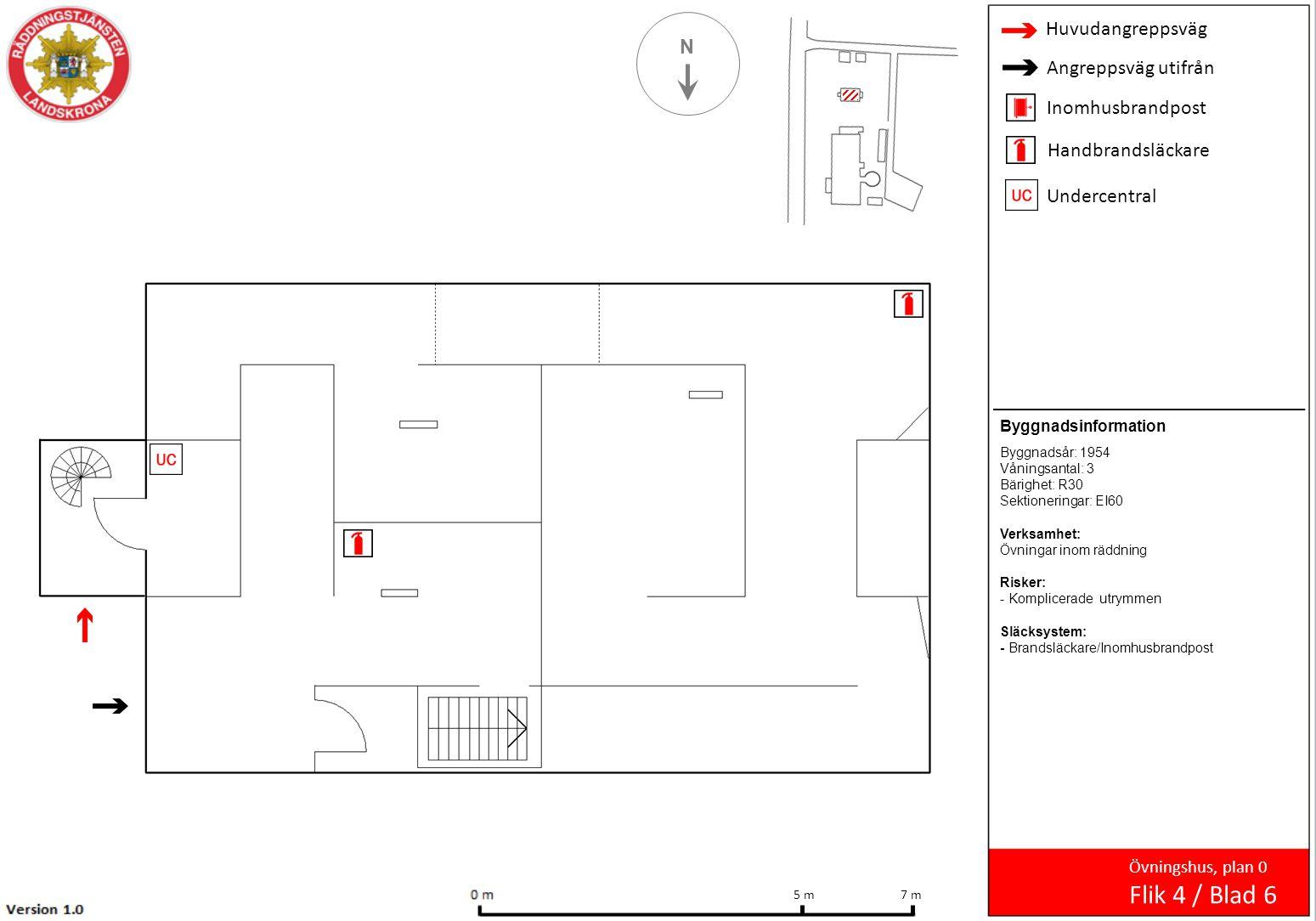 Huvudangreppsväg Angreppsväg utifrån Inomhusbrandpost Handbrandsläckare Undercentral N Övningshus, plan 0 Flik 4 / Blad 6 7 m 5 m Byggnadsinformation