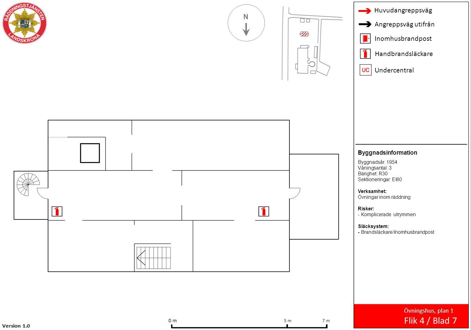 N Övningshus, plan 1 Flik 4 / Blad 7 7 m 5 m Byggnadsinformation Byggnadsår: 1954 Våningsantal: 3 Bärighet: R30 Sektioneringar: EI60 Verksamhet: Övnin