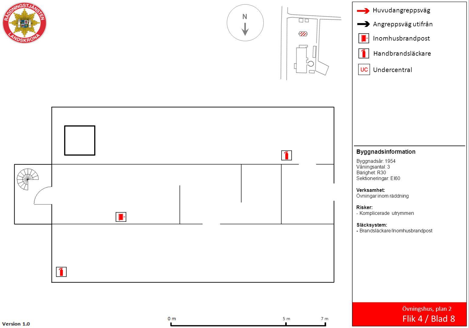N Övningshus, plan 2 Flik 4 / Blad 8 7 m 5 m Byggnadsinformation Byggnadsår: 1954 Våningsantal: 3 Bärighet: R30 Sektioneringar: EI60 Verksamhet: Övnin