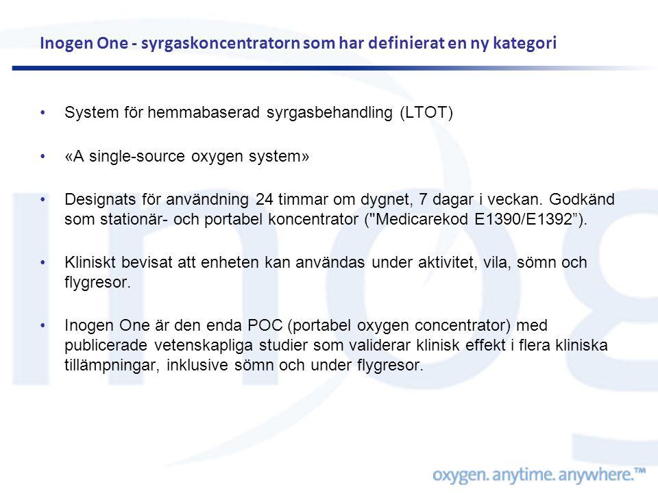 Inogen One - syrgaskoncentratorn som har definierat en ny kategori •System för hemmabaserad syrgasbehandling (LTOT) •«A single-source oxygen system» •