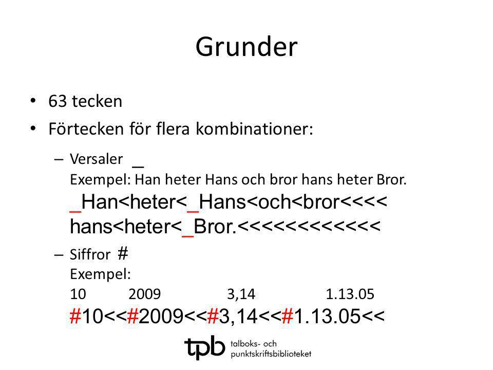 Grunder • 63 tecken • Förtecken för flera kombinationer: – Versaler _ Exempel: Han heter Hans och bror hans heter Bror. _Han<heter<_Hans<och<bror<<<<