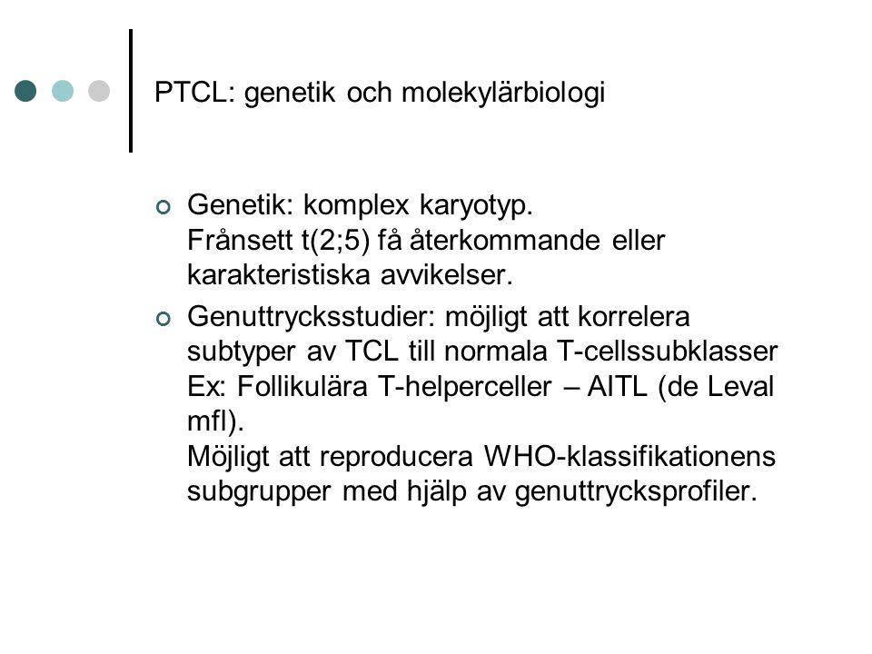 PTCL: genetik och molekylärbiologi Genetik: komplex karyotyp.