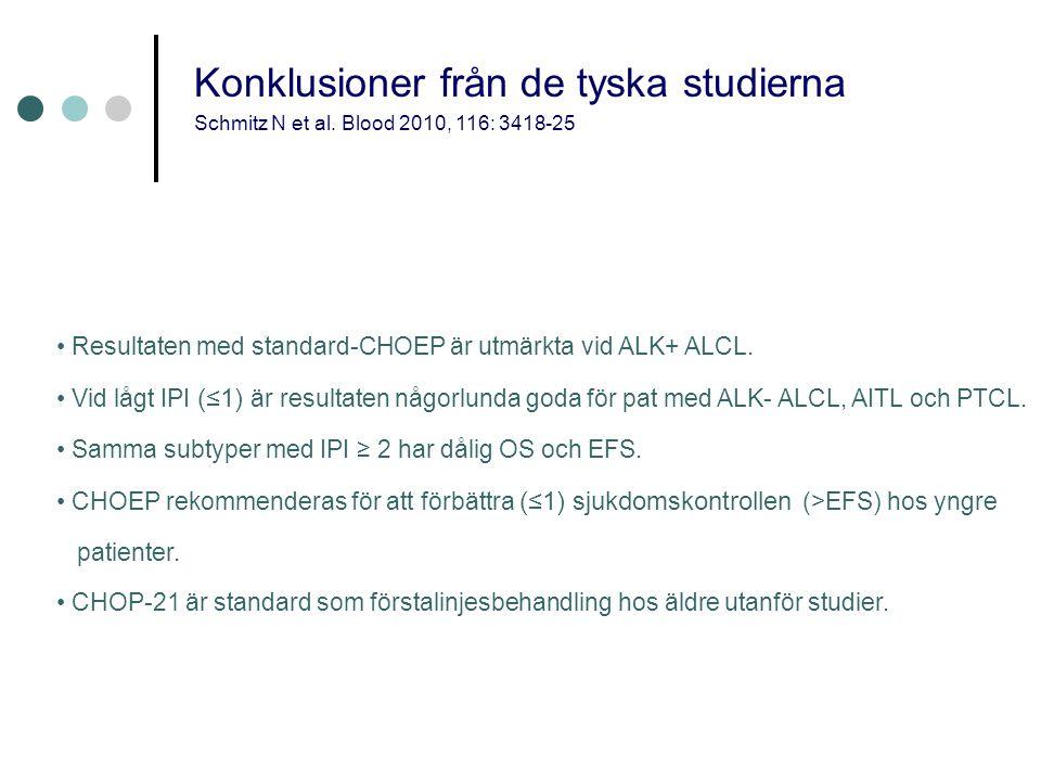 • Resultaten med standard-CHOEP är utmärkta vid ALK+ ALCL.