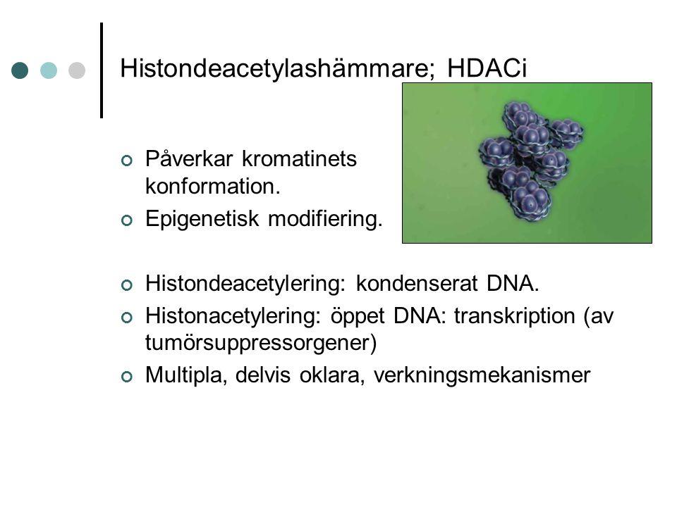 Histondeacetylashämmare; HDACi Påverkar kromatinets konformation.
