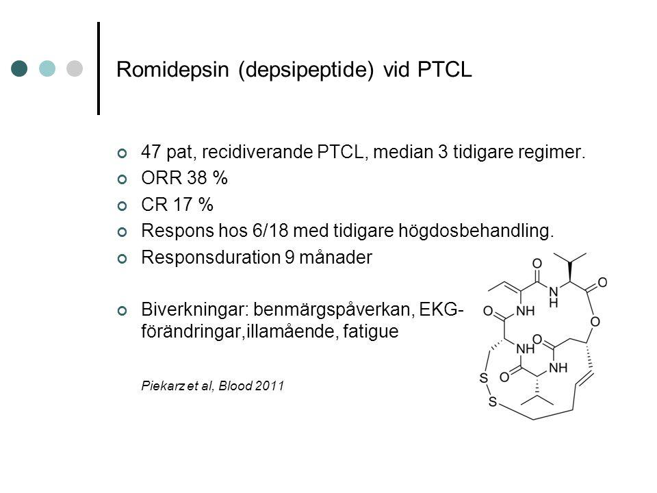 Romidepsin (depsipeptide) vid PTCL 47 pat, recidiverande PTCL, median 3 tidigare regimer.