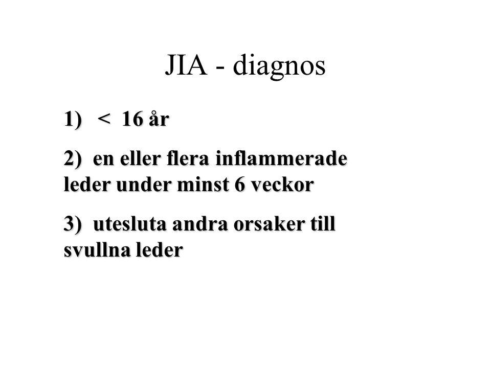 JIA - diagnos 1) < 16 år 2) en eller flera inflammerade leder under minst 6 veckor 3) utesluta andra orsaker till svullna leder