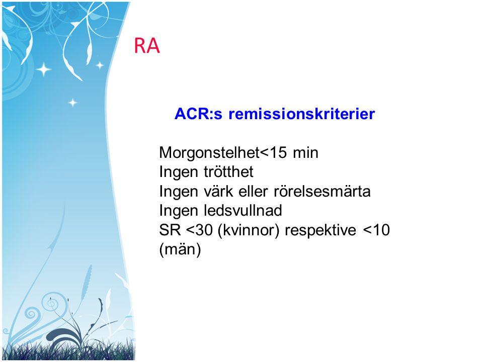 RA ACR:s remissionskriterier Morgonstelhet<15 min Ingen trötthet Ingen värk eller rörelsesmärta Ingen ledsvullnad SR <30 (kvinnor) respektive <10 (män