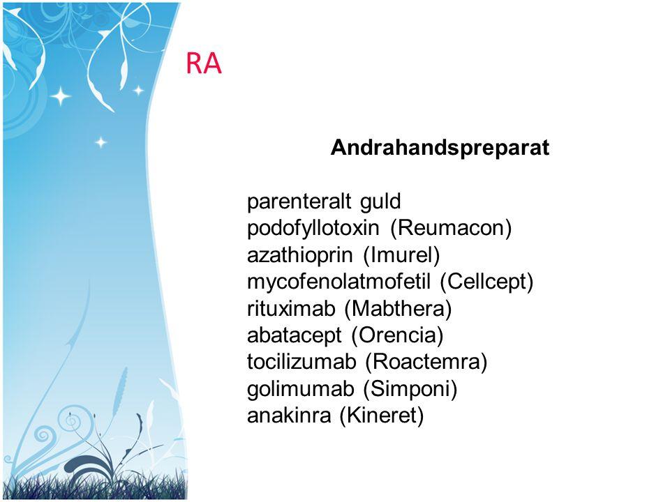 RA Andrahandspreparat parenteralt guld podofyllotoxin (Reumacon) azathioprin (Imurel) mycofenolatmofetil (Cellcept) rituximab (Mabthera) abatacept (Or