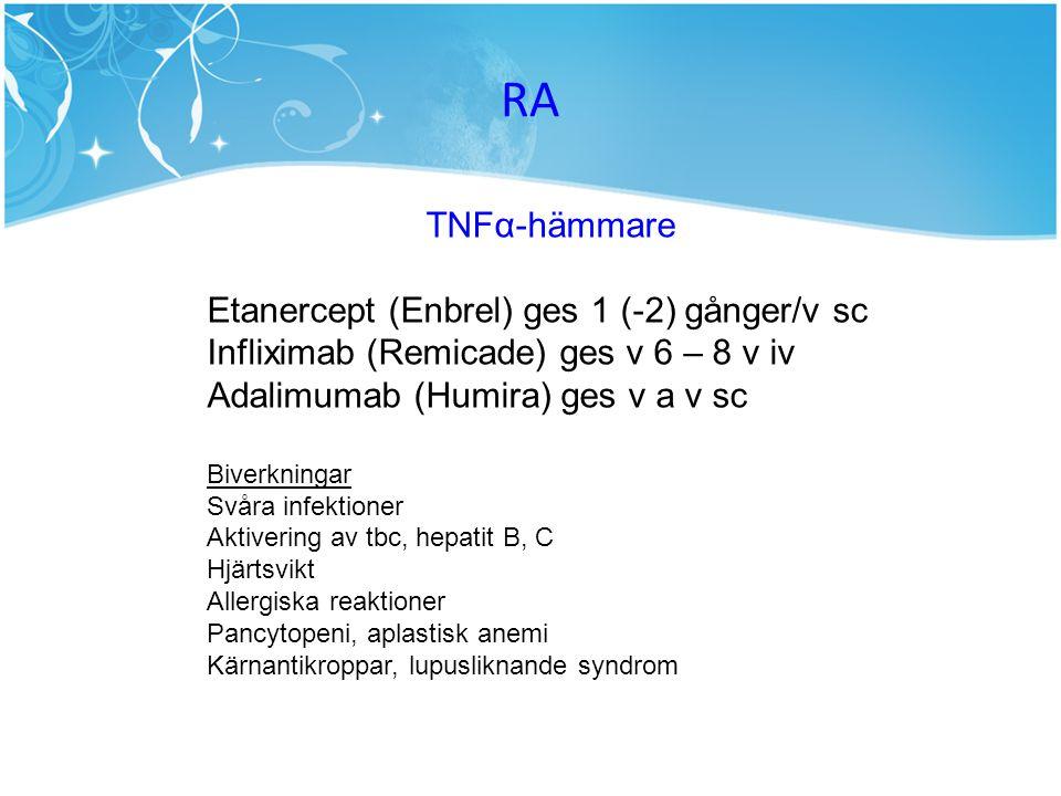 RA TNFα-hämmare Etanercept (Enbrel) ges 1 (-2) gånger/v sc Infliximab (Remicade) ges v 6 – 8 v iv Adalimumab (Humira) ges v a v sc Biverkningar Svåra