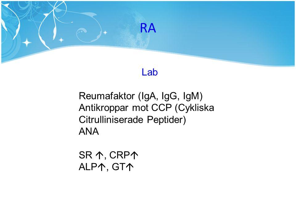 Lab Reumafaktor (IgA, IgG, IgM) Antikroppar mot CCP (Cykliska Citrulliniserade Peptider) ANA SR , CRP  ALP , GT 