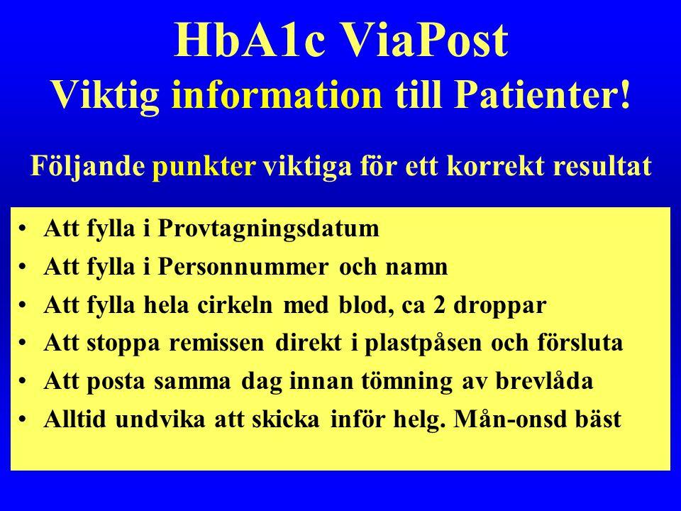 HbA1c ViaPost Viktig information till Patienter! •Att fylla i Provtagningsdatum •Att fylla i Personnummer och namn •Att fylla hela cirkeln med blod, c