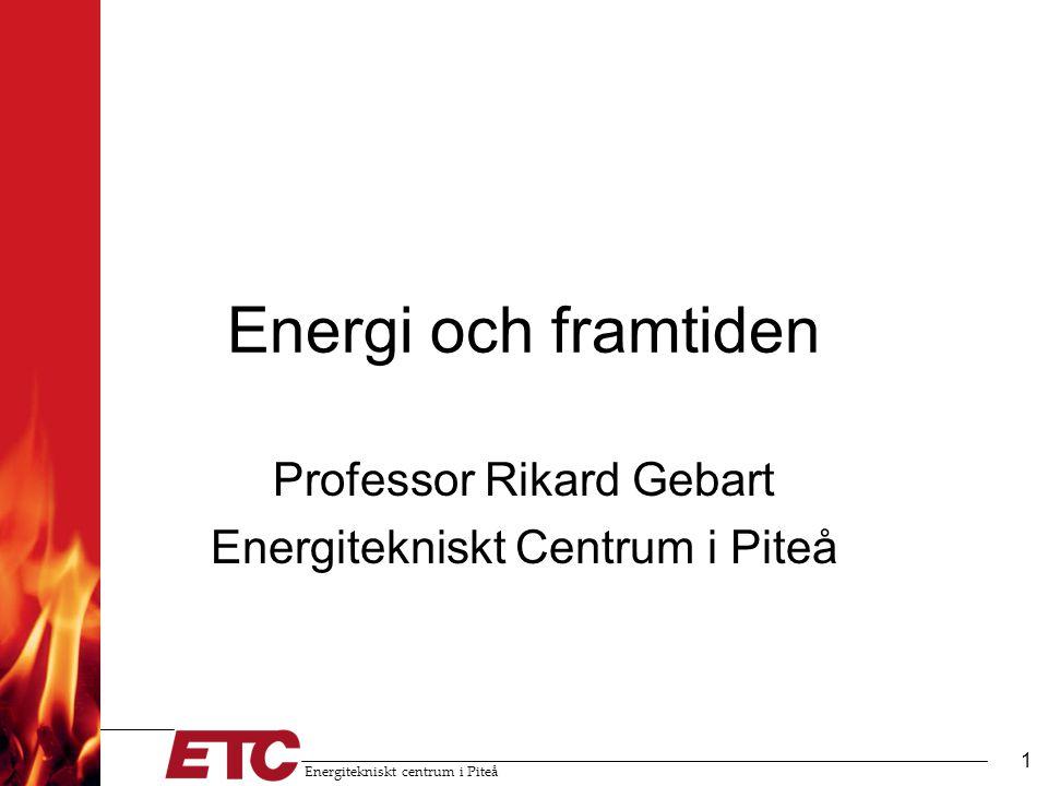 Energitekniskt centrum i Piteå 1 Energi och framtiden Professor Rikard Gebart Energitekniskt Centrum i Piteå