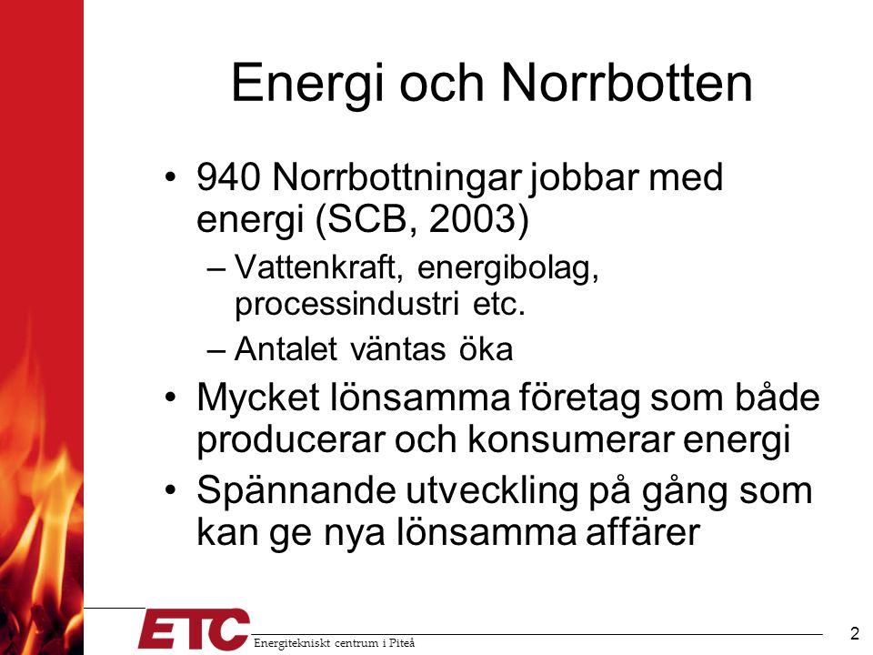 Energitekniskt centrum i Piteå 2 Energi och Norrbotten •940 Norrbottningar jobbar med energi (SCB, 2003) –Vattenkraft, energibolag, processindustri etc.