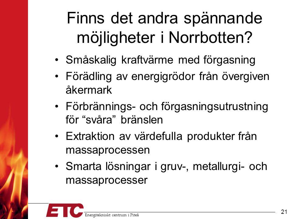 Energitekniskt centrum i Piteå 21 Finns det andra spännande möjligheter i Norrbotten.