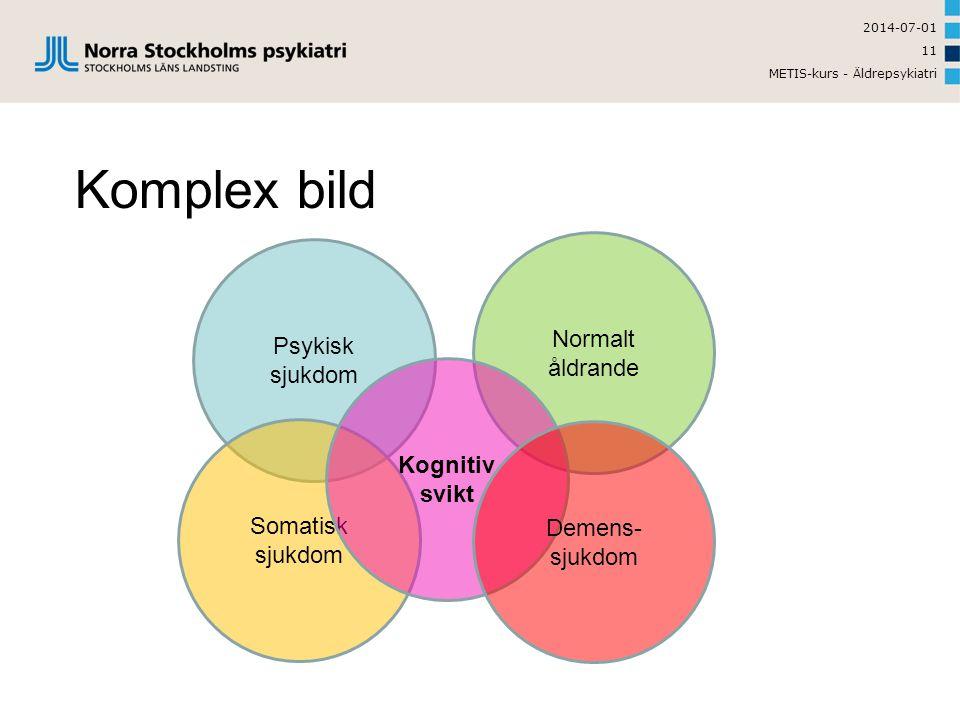 2014-07-01 METIS-kurs - Äldrepsykiatri 11 Komplex bild Psykisk sjukdom Somatisk sjukdom Normalt åldrande Kognitiv svikt Demens- sjukdom