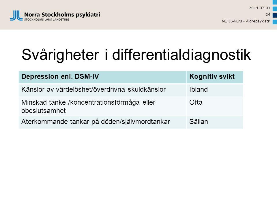 2014-07-01 METIS-kurs - Äldrepsykiatri 24 Svårigheter i differentialdiagnostik Depression enl.