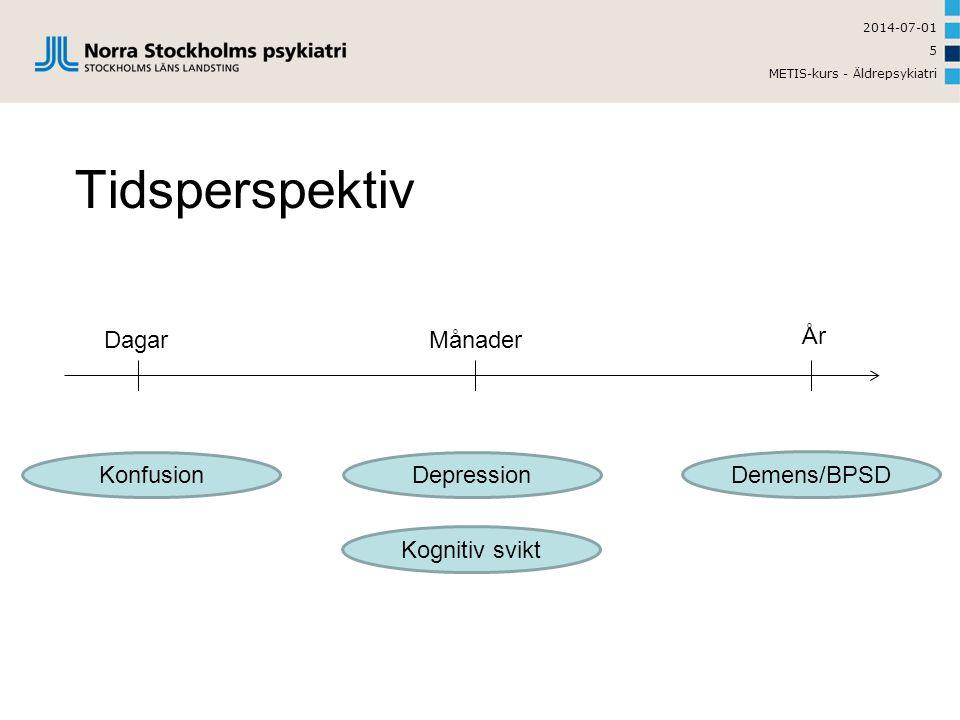 2014-07-01 METIS-kurs - Äldrepsykiatri 5 Tidsperspektiv Konfusion Kognitiv svikt Depression Demens/BPSD Dagar År Månader