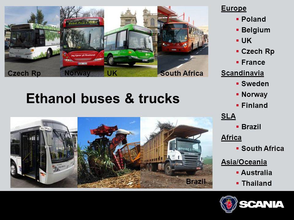 Ethanol buses & trucks Czech RpSouth Africa Brazil Europe  Poland  Belgium  UK  Czech Rp  France Scandinavia  Sweden  Norway  Finland SLA  Br